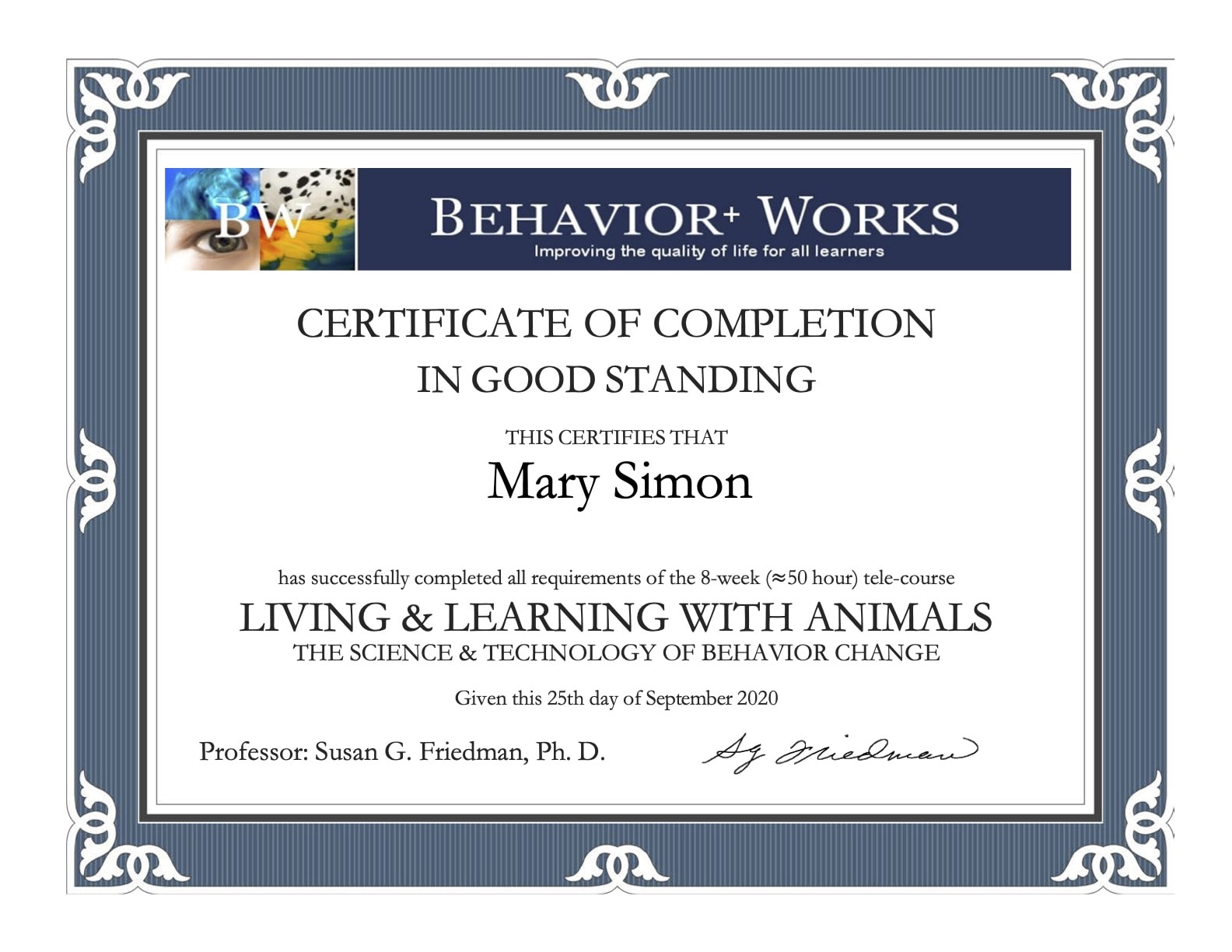 Living Learning with Animals Certificate