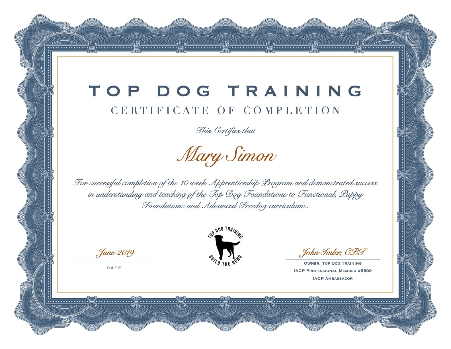 Top dog Training Certificate Of completion